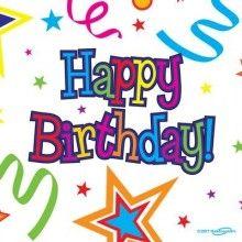 Servetten 33 x 33cm Happy Birthday ribbons and stars, 16 stuks