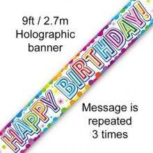 Sjerp holografisch Happy Birthday zilver en multicolour 2.7 mtr, per stuk