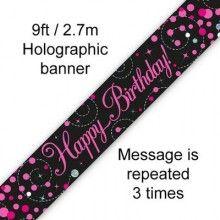 Sjerp holografisch Happy Birthday zwart roze 2.7 mtr, per stuk