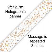 Sjerp holografisch Happy Birthday wit en rose gold 2.7 mtr, per stuk
