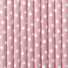 Papieren rietjes lichtroze dots, 10 stuks