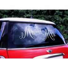 "Trouwauto sticker ""Mr and Mrs"""