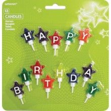 Mini taartkaarsjes ster Happy Birthday, 13 kaarsjes