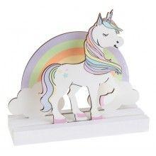 Houten Unicorn regenboog decoratieve tafelstandaard