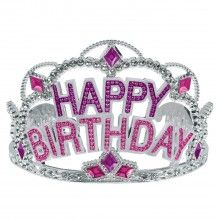 Tiara Happy Birthday zilver roze
