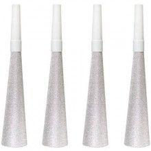 Papieren feesttoeter zilver glitter, 4 stuks