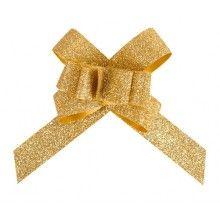 Trekstrik 14mm goud glitter, 10 stuks