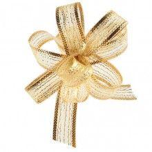 Trekstrikjes iridescent goud 1cm breed, rol 5 meter