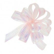 Trekstrikjes iridescent roze 1cm breed, rol 5 meter