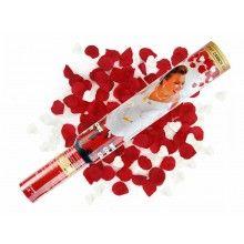 Confetticanon 50cm rood witte rozenblaadjes