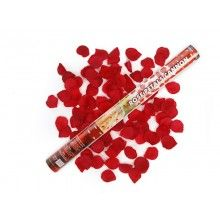 Confettishooter rode rozenblaadjes