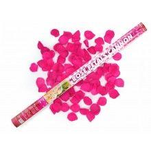 Confettikanon 60 cm roze rozenblaadjes