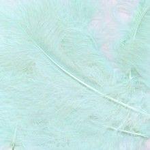 Decoratieve veren lichtblauw, zakje 8 gram