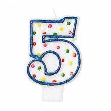 Verjaardags taartkaarsje wit met gekleurde stippen cijfer 5