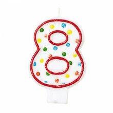 Verjaardags taartkaarsje wit met gekleurde stippen cijfer 8