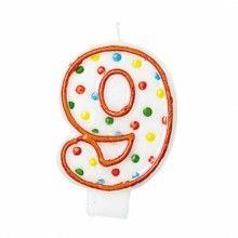 Verjaardags taartkaarsje wit met gekleurde stippen cijfer 9