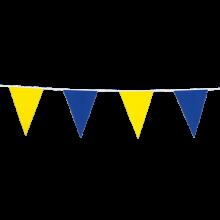 Vlaggenlijn slinger blauw en geel, lengte 10 meter