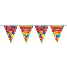 Vlaggenlijn slinger ballonnen Hartelijk Gefeliciteerd, lengte 10 meter
