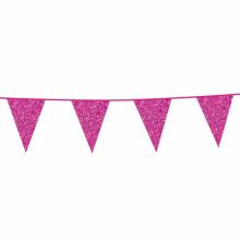 Vlaggenlijn slinger glitter roze, 6 meter