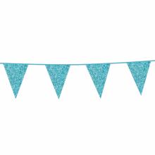 Vlaggenlijn slinger glitter lichtblauw, 6 meter