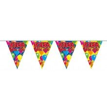 Vlaggenlijn slinger ballonnen Hoera ik ben jarig, lengte 10 meter