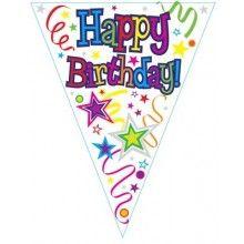 Vlaggenlijn Happy Birthday ribbons and stars 3.9 mtr