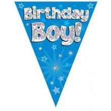 Vlaggenlijn Birthday Boy blauw holografisch, 3.9 mtr