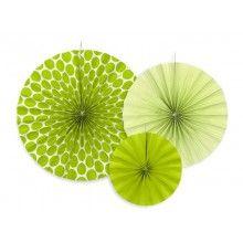 Papieren waaier groen 3 stuks