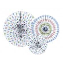Papieren waaier pastel mix, 3 stuks