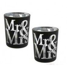 Waxinelicht houder Mr & Mrs zwart, set 2 stuks